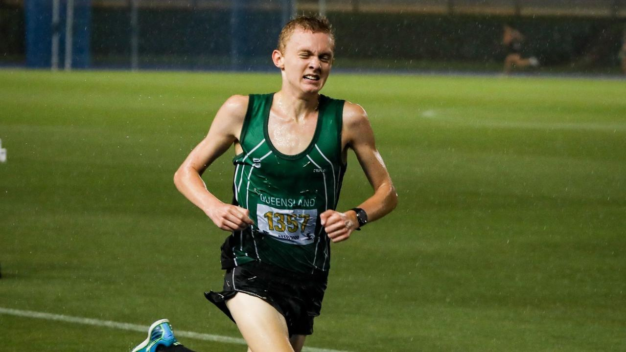 Tenacious Ipswich and District Athletic Club runner Jude Thomas on his way to more state title successes. Picture: Vic Pascoe
