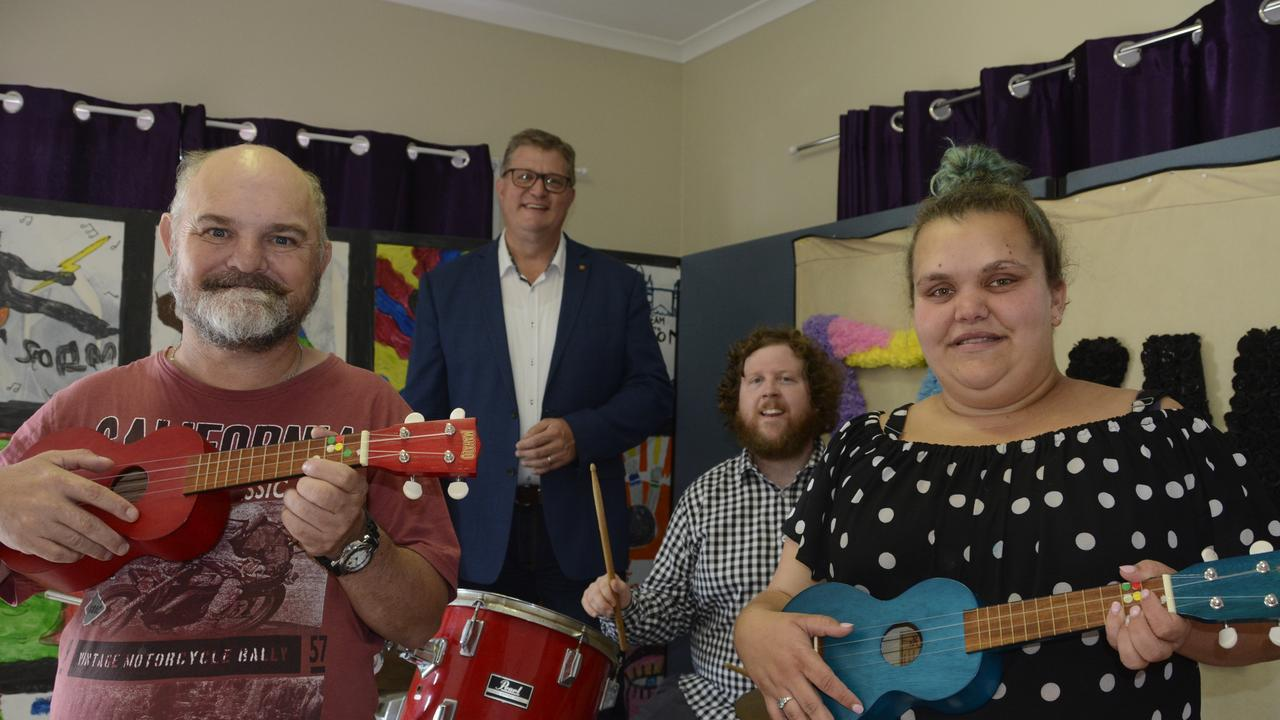 MAKING NOISE: Celebrating the donation of the Toowoomba North Local Heroes Grant at the YWCA are (from left) Loud Play house band member David Larfield, Toowoomba North MP Trevor Watts, band instructor Stewart Sloan and singer Sammi Bailey.
