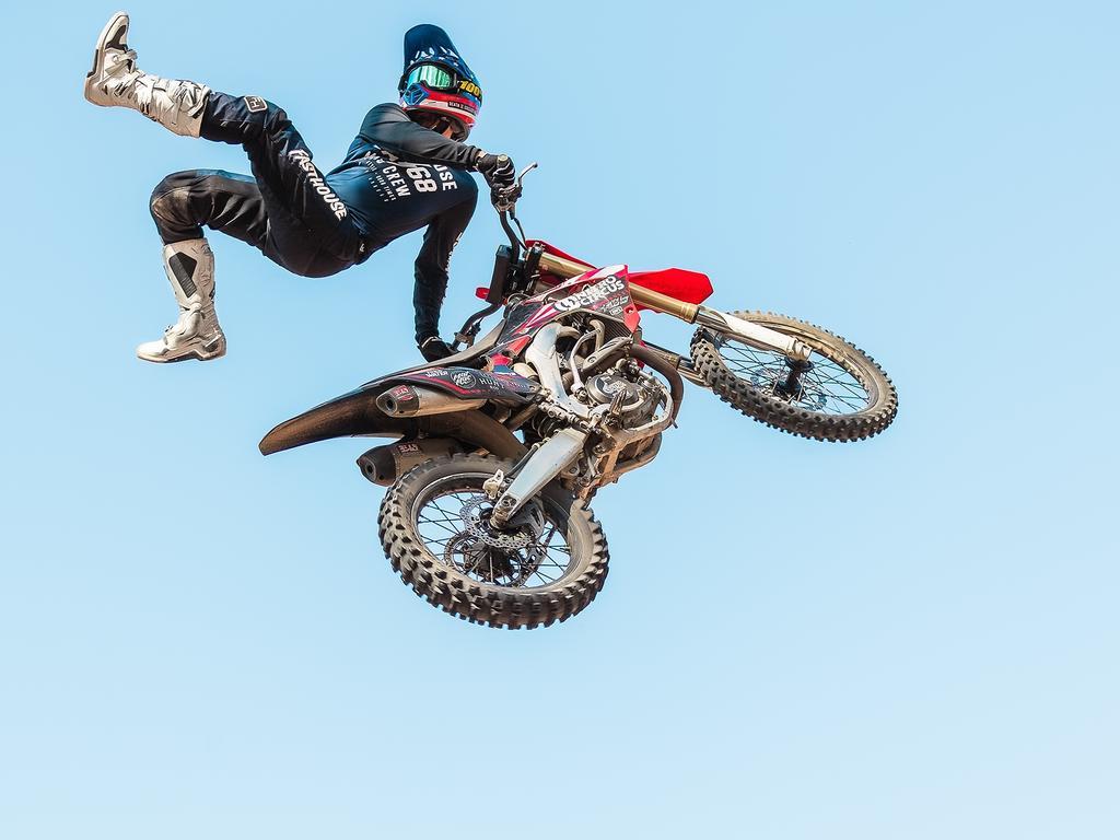 Matthew McFerran, a freestyle motorbike stunt rider with Nitro Circus. Picture: Nitro Circus.