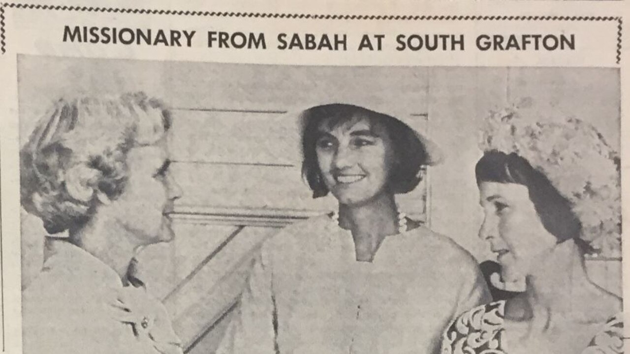 Miss Jocelyn Thomas, of Lismore, a missionary from Sabah, was guest speaker at Lady Day celebrations at South Grafton yesterday. She is shown here (centre) with Mrs. R. G. Arthur, wife of the Bishop of Grafton (left) and Mrs. K. McDonald. See story on page two.
