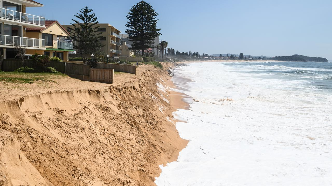 The sea approaching coastal homes at Collaroy on Sydney's northern beaches on Tuesday. Picture: AAP