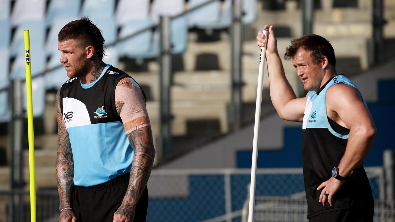 Josh Dugan and Josh Morris at training. Picture: Toby Zerna