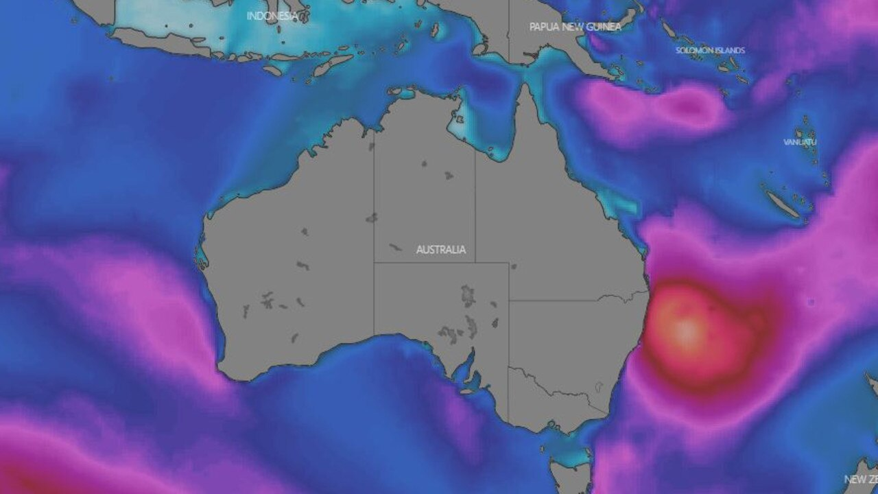 The waves produced by Cyclone Uesi are likely to be huge, up to 5m high. This is the projected wave height on Friday night. Picture: Windy