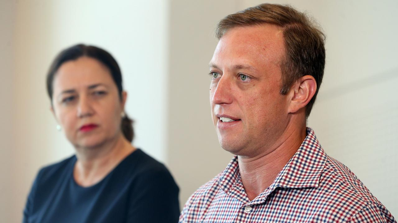 Queensland Premier Annastacia Palaszczuk and Health Minister Steven Miles. Picture: AAP Image/Richard Gosling