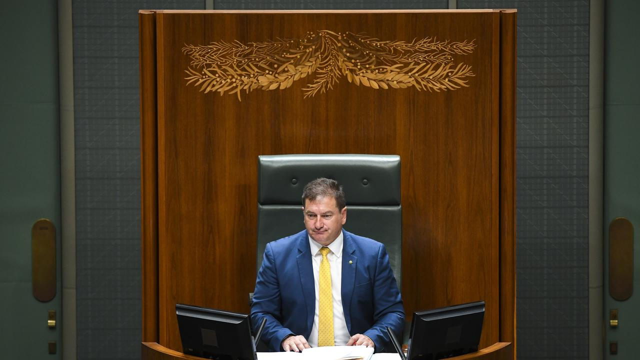 Deputy Speaker Llew O'Brien is seen in the speaker's chair after House of Representatives Question Time at Parliament House in Canberra, Tuesday, February 11, 2020. (AAP Image/Lukas Coch) NO ARCHIVING