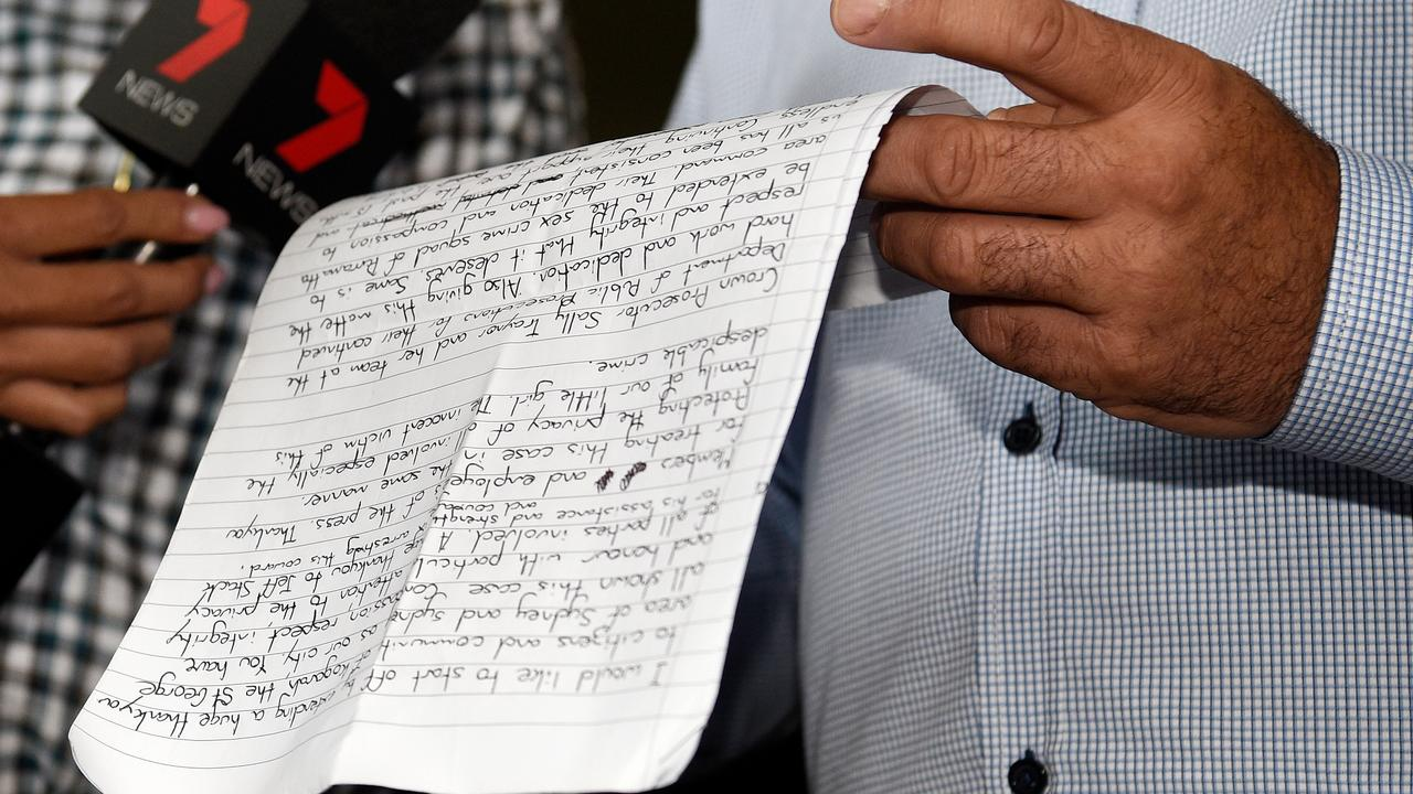 Nick Gilio read a handwritten statement to the young girl. Picture: AAP Image/Bianca De Marchi