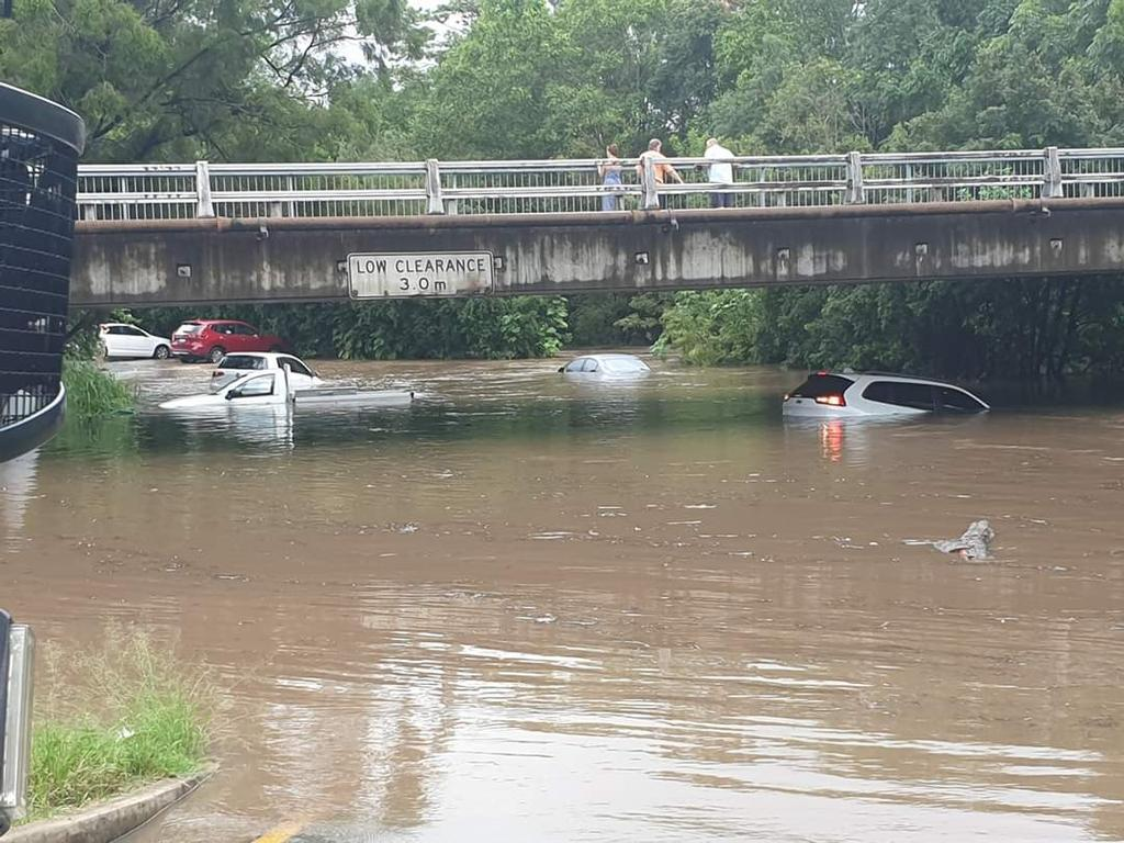 Cars underwater at Nambour Plaza yesterday afternoon.