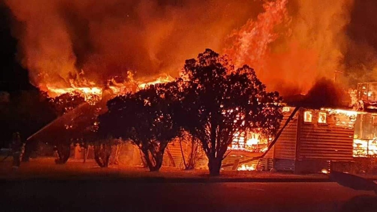 UP IN FLAMES: St Mary's Catholic Church ablaze.