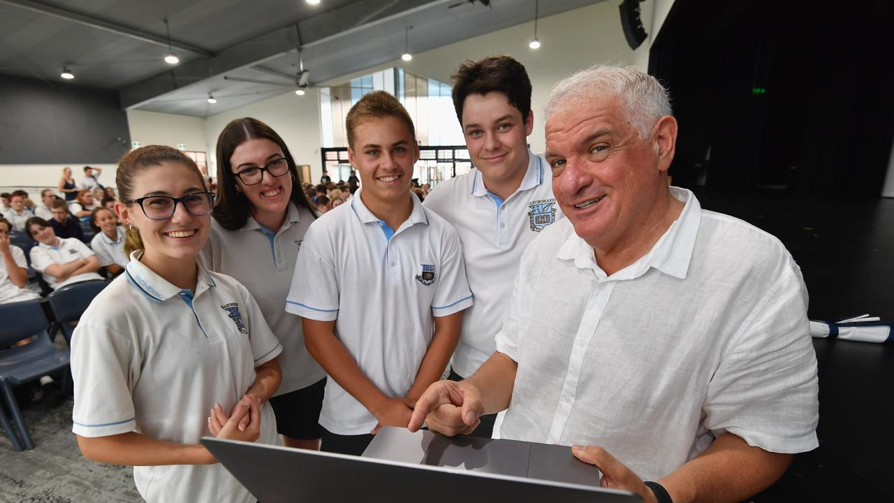 Psychologist Dr Michael Carr-Gregg with Maryborough High students Caitlyn Hanrahan, Jorja Lyons, Bailey Eckert and Declan Dwyer-Vary before his talk at the school. Photo: Alistair Brightman