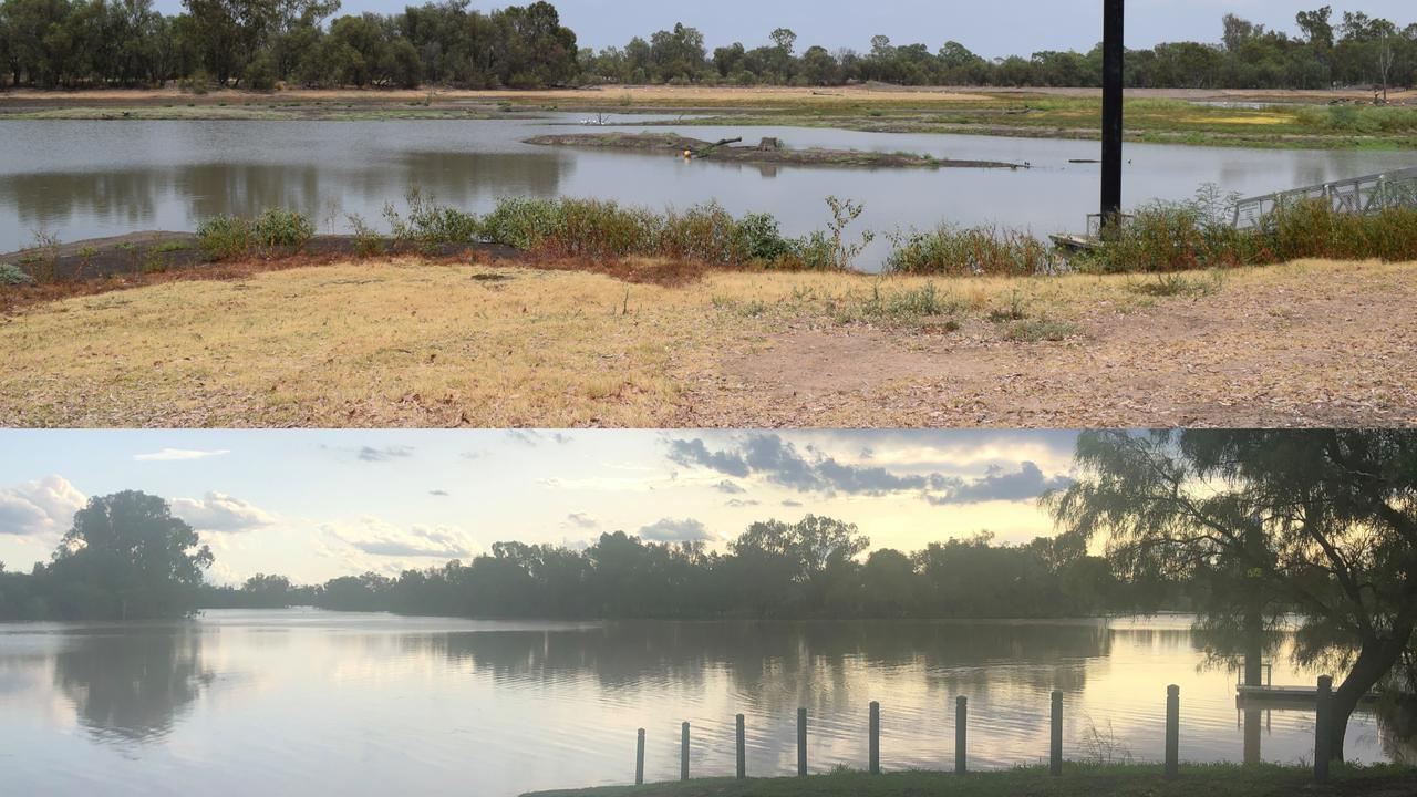 TRANSFORMATION: The Chinchilla Weir on January 12 and then again on February 9.