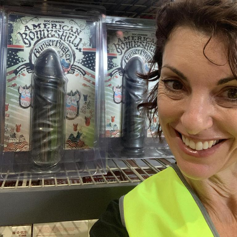 Kerri Sackville checking out a sex toy warehouse. Picture: Supplied