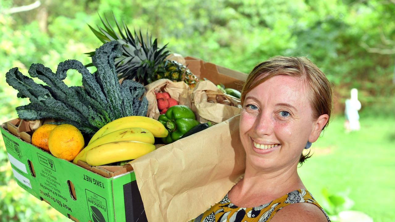FRESH FOOD: Sallie Francis with one of her Feel Good Food Boxes. Photo: John McCutcheon