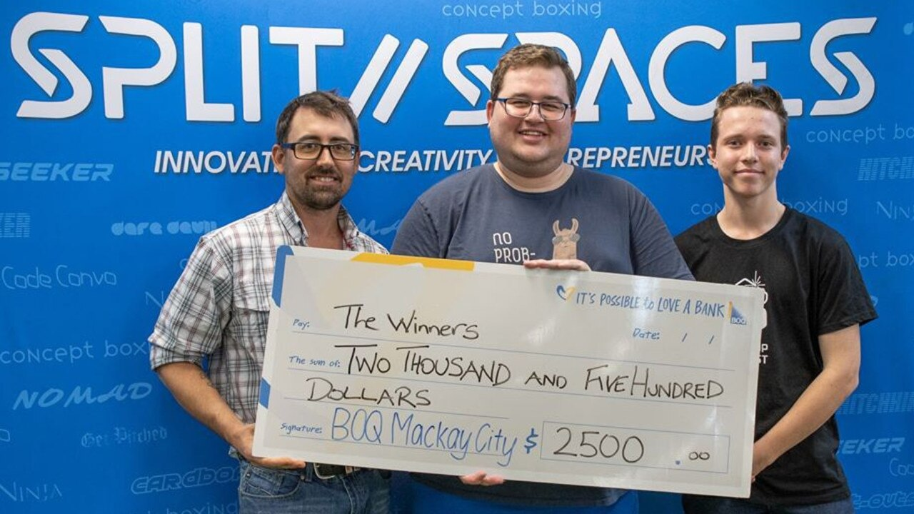 Luke Hewson, Chris Vella and Tom Stolberg were the winners at the 2019 MackHack. Picture: contributed.