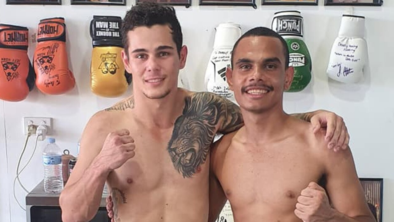 HITTING IT OFF: Pharrell Chapman (right) with his sparring partner at the Deadly Boxing Academy on Saturday.   Picture: Contributed