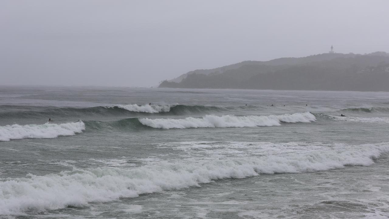 Conditions on Byron Bay's Main Beach as the town was hit by more wet weather and a very high tide on Wednesday, February 12.