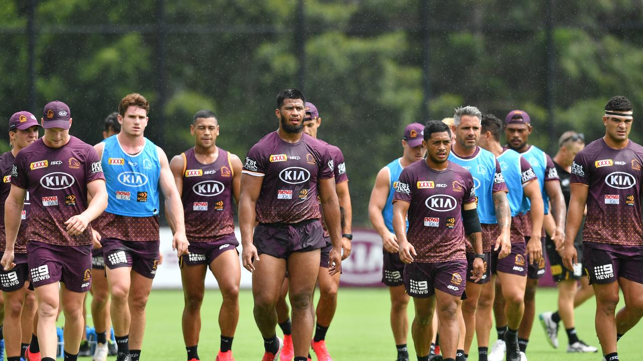 Payne Haas (centre) is seen with team mates during Brisbane Broncos training at Clive Berghofer Field in Brisbane, Tuesday, February 11, 2020. (AAP Image/Darren England) NO ARCHIVING