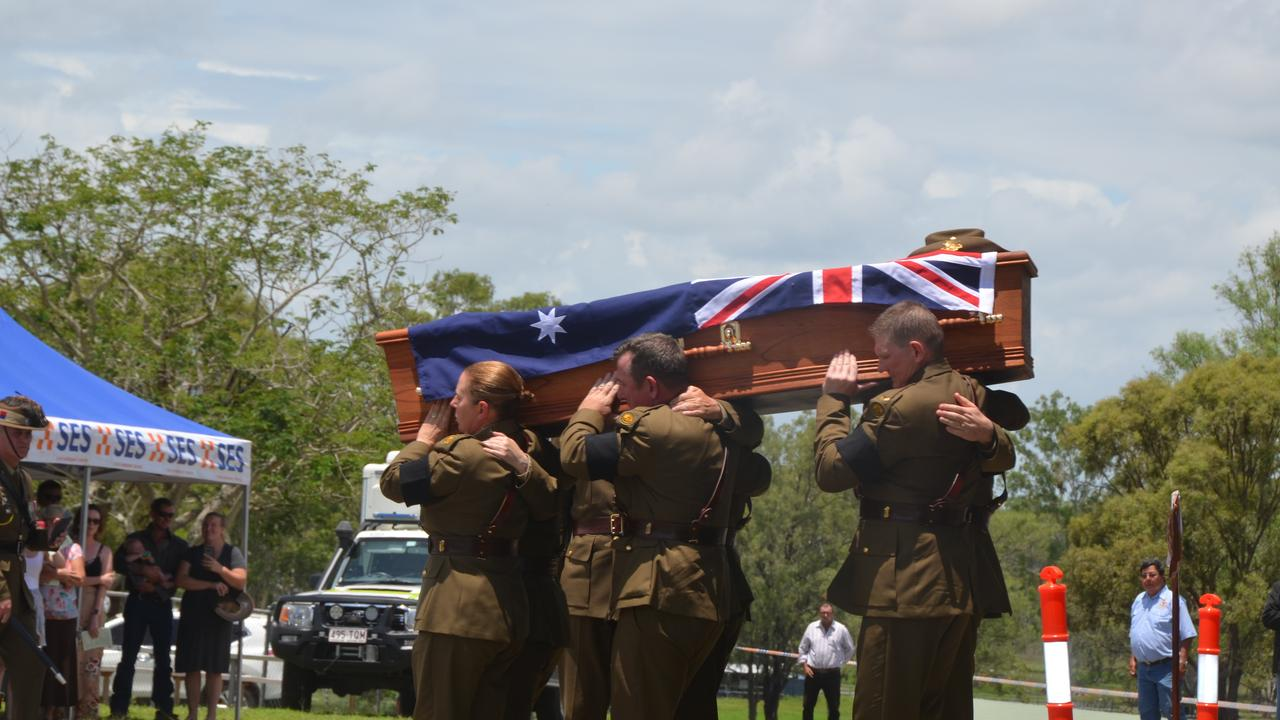The funeral of former councillor and veteran Kevin 'Lofty' Wendt in Biggenden on February 7, 2020. Picture: Sam Turner.