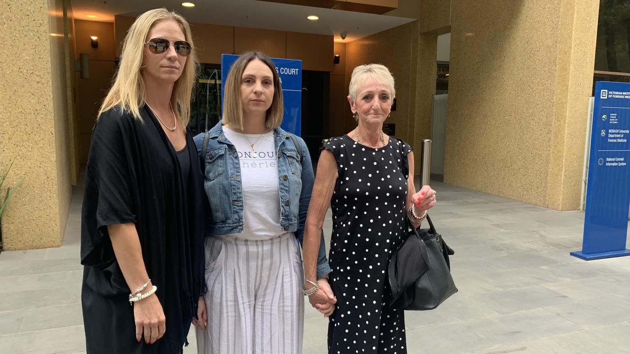 Family of Trevor Tascas (from left) Leanne Urbon, Kristy Tascas and Pamela Tascas outside court. Picture: Supplied.