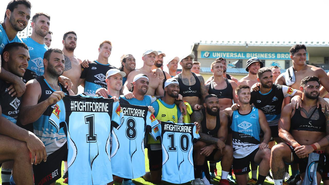 The Sharks will wear #FightForFine hashtags on their jerseys at this weekend's Nines in Perth. Picture: Brett Costello