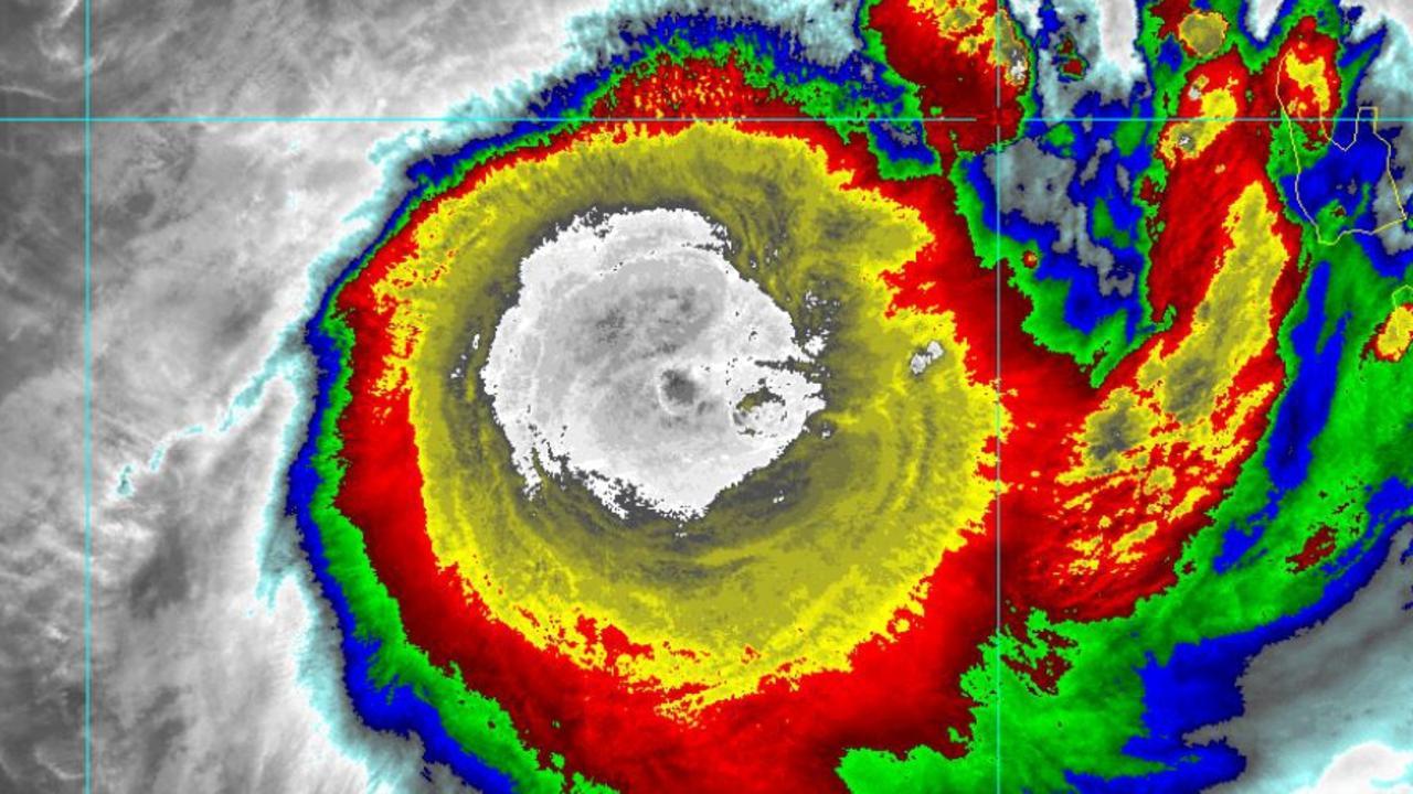 The eye of Cyclone Uesi close to New Caledonia. Picture: NOAA USA