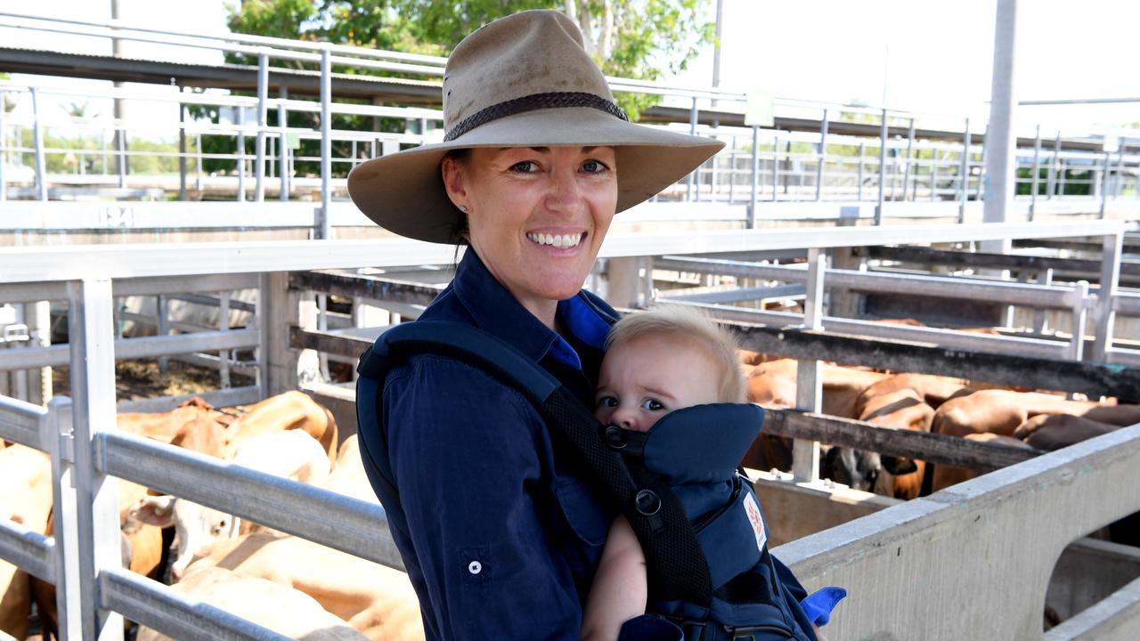 Linda Richardson with eight-month old Blake at the CQLX sales on Wednesday