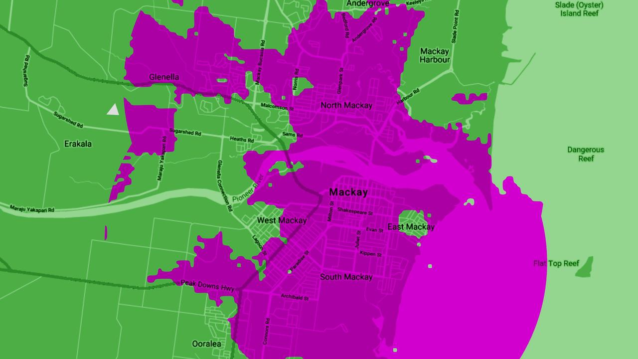 Mackay will be among the first cities in Australia and the world to turn on 5G. The purple on the map indicates the current 5G coverage provided by Telstra.