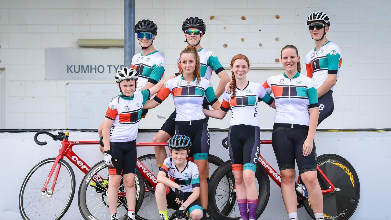Bundaberg Cycling Club members Zander Davis (bottom left), Hunter Davis, Lana Morden, Paige Davis, Caitlin Morden, Brody Allison (top left), Austin Allen and Duncan Allen.