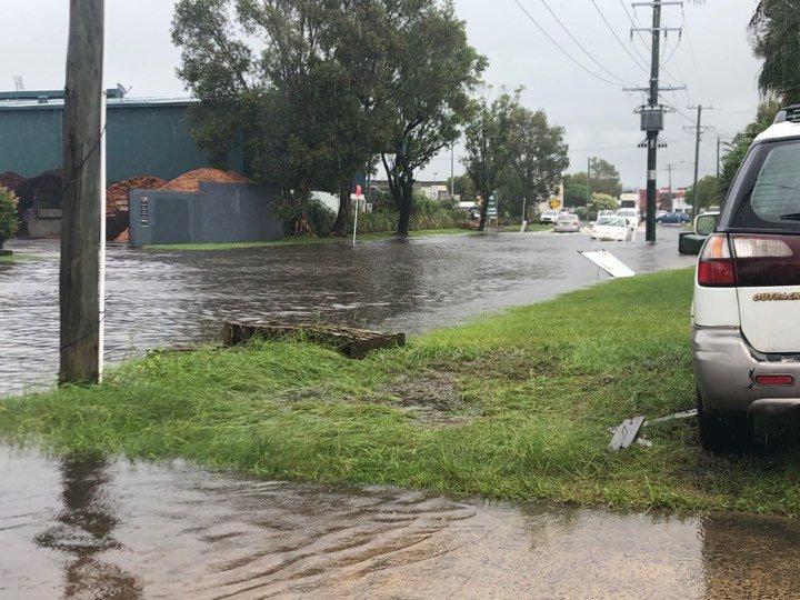 Water across the road in Grevillea St in Byron Bay's industrial estate.
