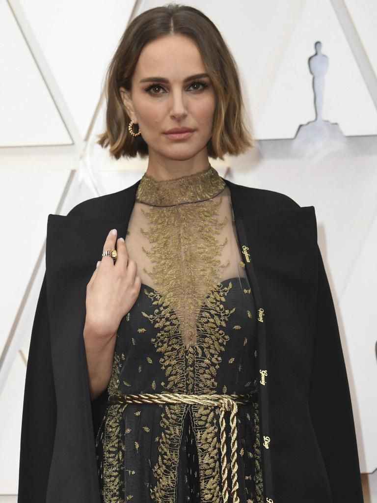 Natalie Portman's cape with the names running down the lapel. Picture: AP