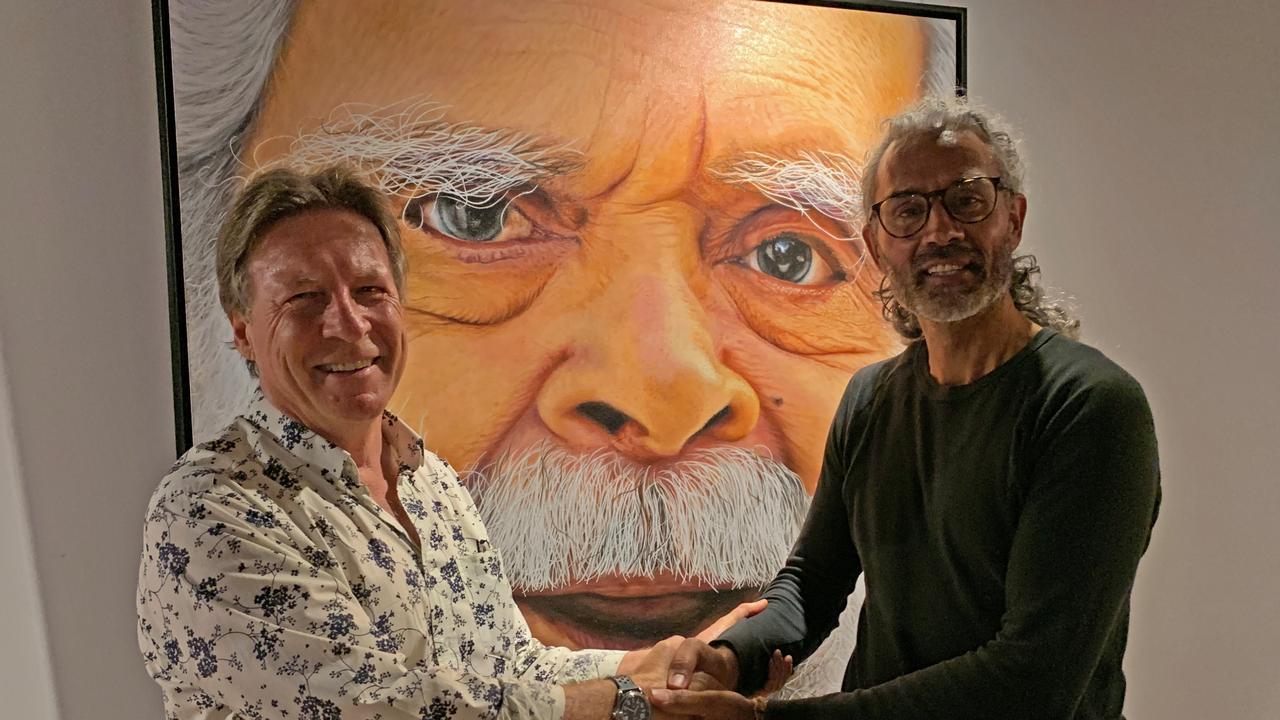 Noosa Mayor Tony Wellington with local indigenous artist Jandamarra Cadd.