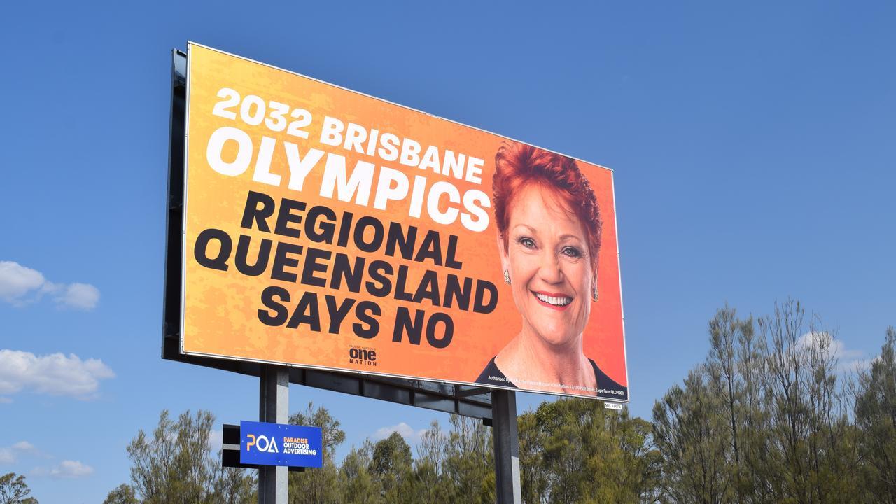 Pauline Hanson billboard situated 5km west of Miles.