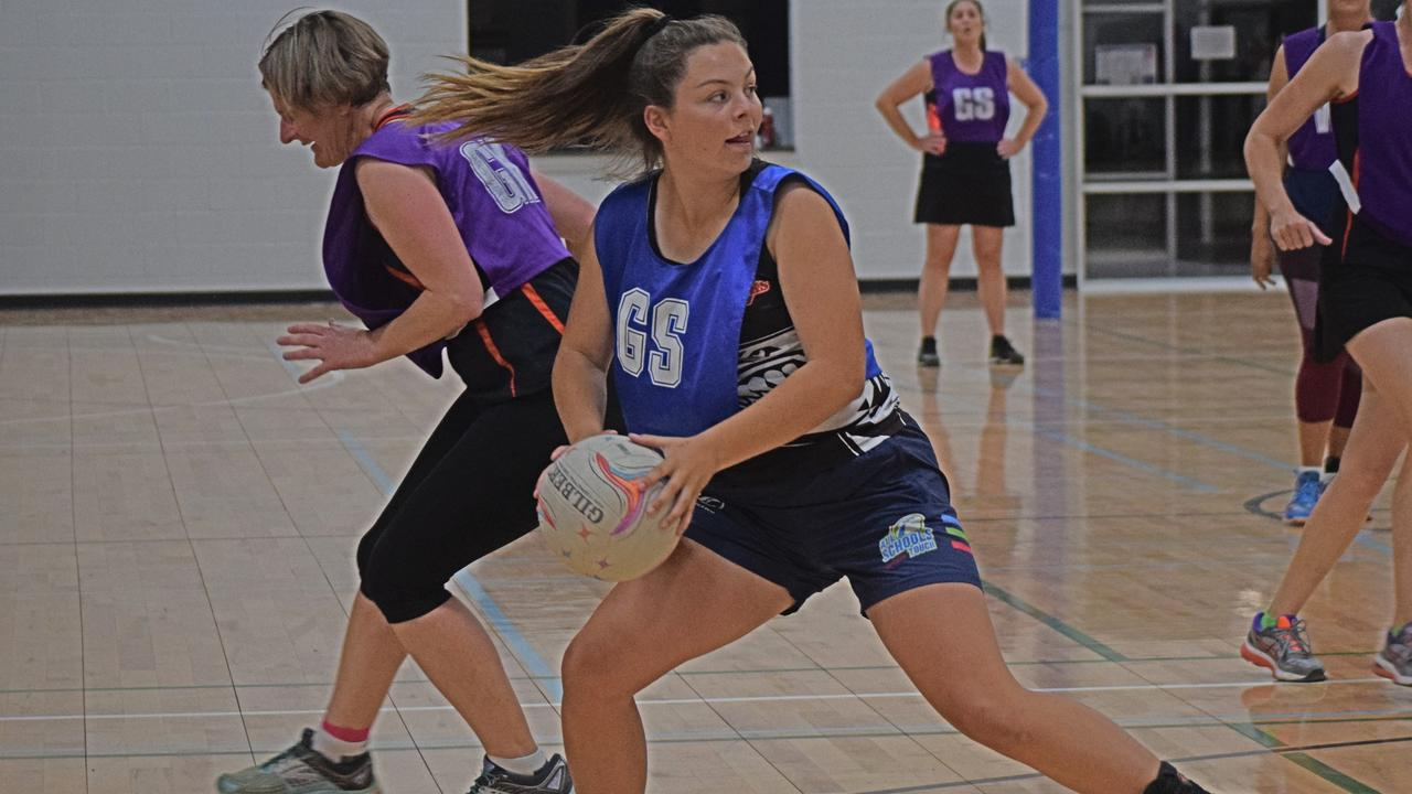 NETBALL 2020: Christina Jones in the Chinchilla ladies netball grand final for Nothin Special versing the Shenanigans in 2019. Pic: Zoe Bell