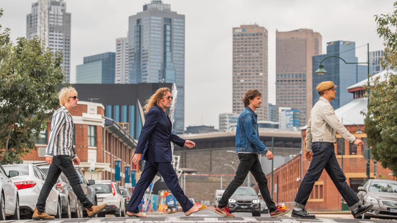 (From left) Davey Lane, Kram, Darren Middleton and Mark Wilson recreate the magic of The Beatles' Abbey Road album. Picture: Jason Edwards