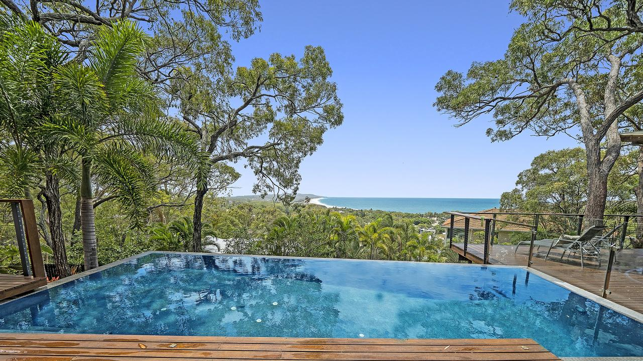 Luxury property 13 Gibbons Ct features an infinity pool.