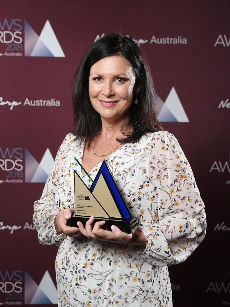 Shelley Strachan wins Achievements in Regional Journalism at the Hyatt Regency in Sydney. Picture: Richard Dobson
