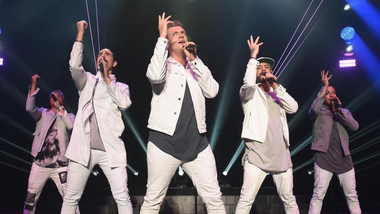The Backstreet Boys performing in 2018 – including Carter (centre). Picture: Nicholas Hunt/Getty Images