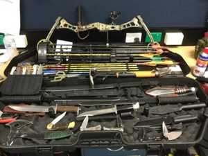 Swords, arrows among weapons allegedly found with man