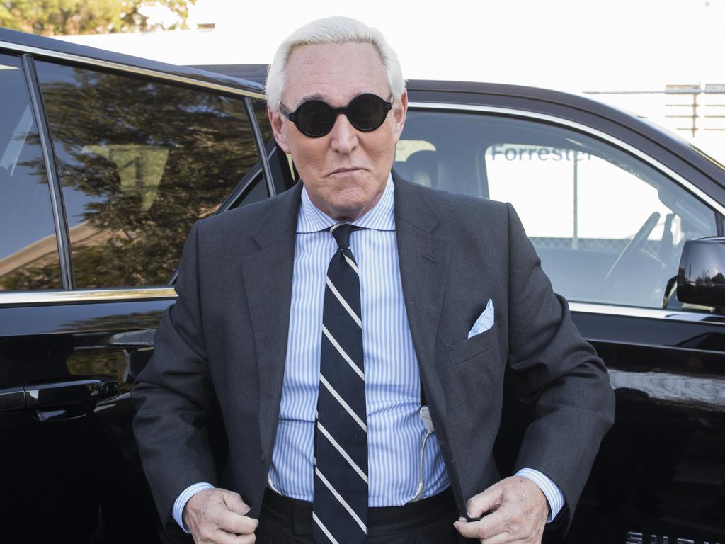 Former Trump campaign adviser Roger Stone arrives at Federal Court for the second day of jury selection for his federal trial, in Washington, on November 6, 2019. Picture: Cliff Owen/AP