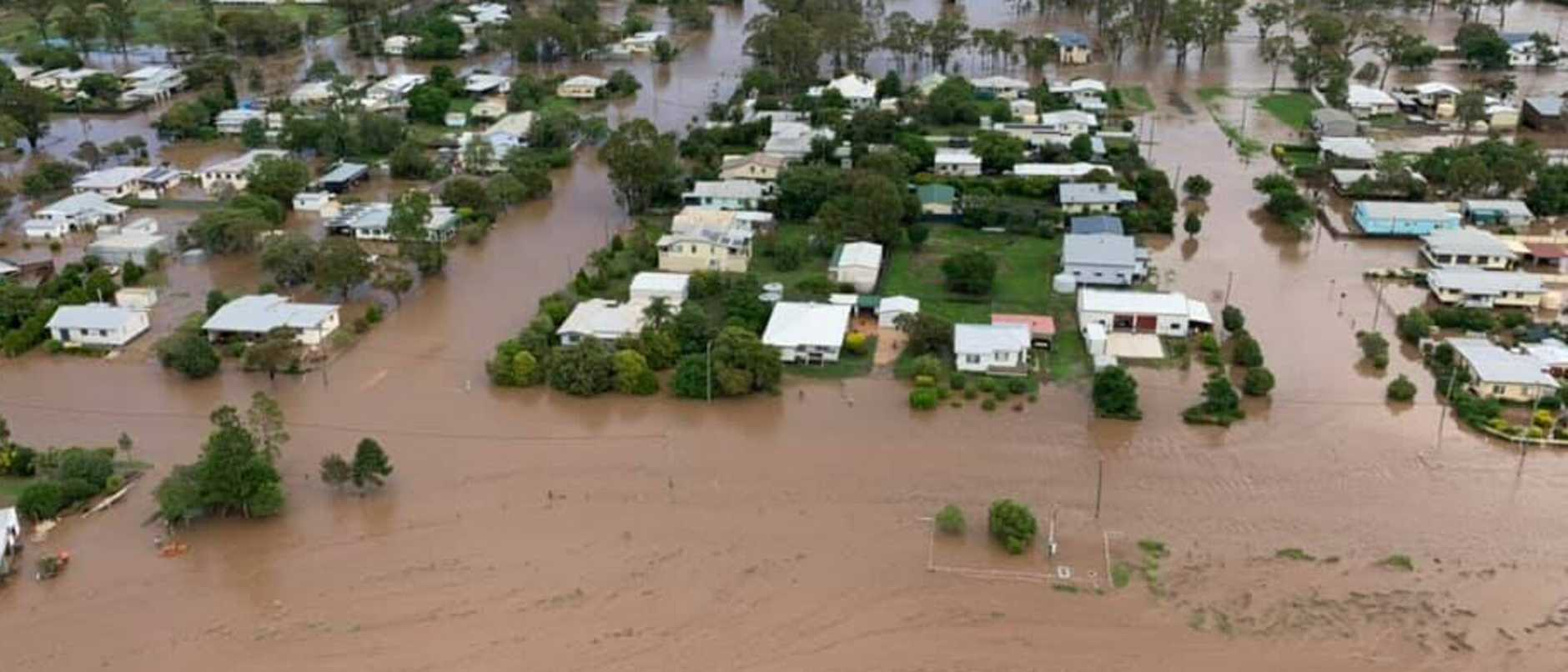 Supplied  The town of Jandowae has been submerged by floodwaters. Pictures: QFES