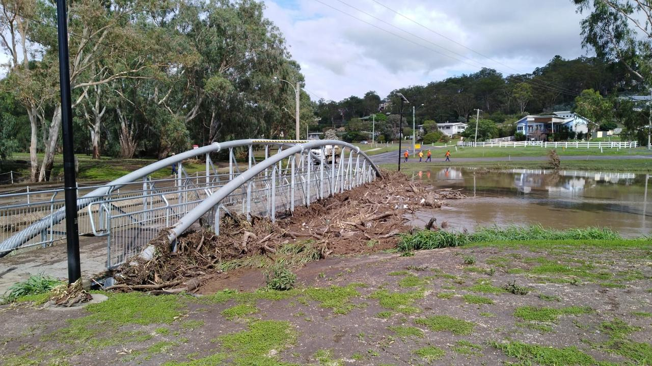 TOO DANGEROUS: Chris Freeman captured the messy sight that was the Coombes Bridge after flooding.
