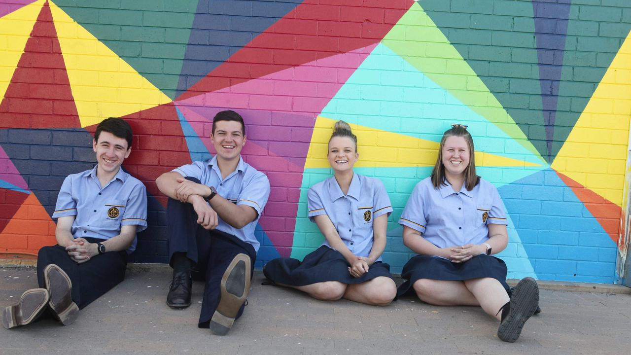 NEW LEADERS: Thomas Schefe, Jayson Theron, Tallara Ries and Kiana Van Der Meulen are Roma State College's year 12 leaders for 2020.
