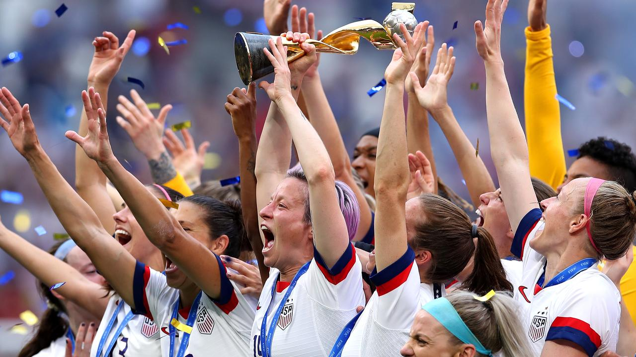 USA players celebrate winning the Women's World Cup in France last year. Picture: Getty Images