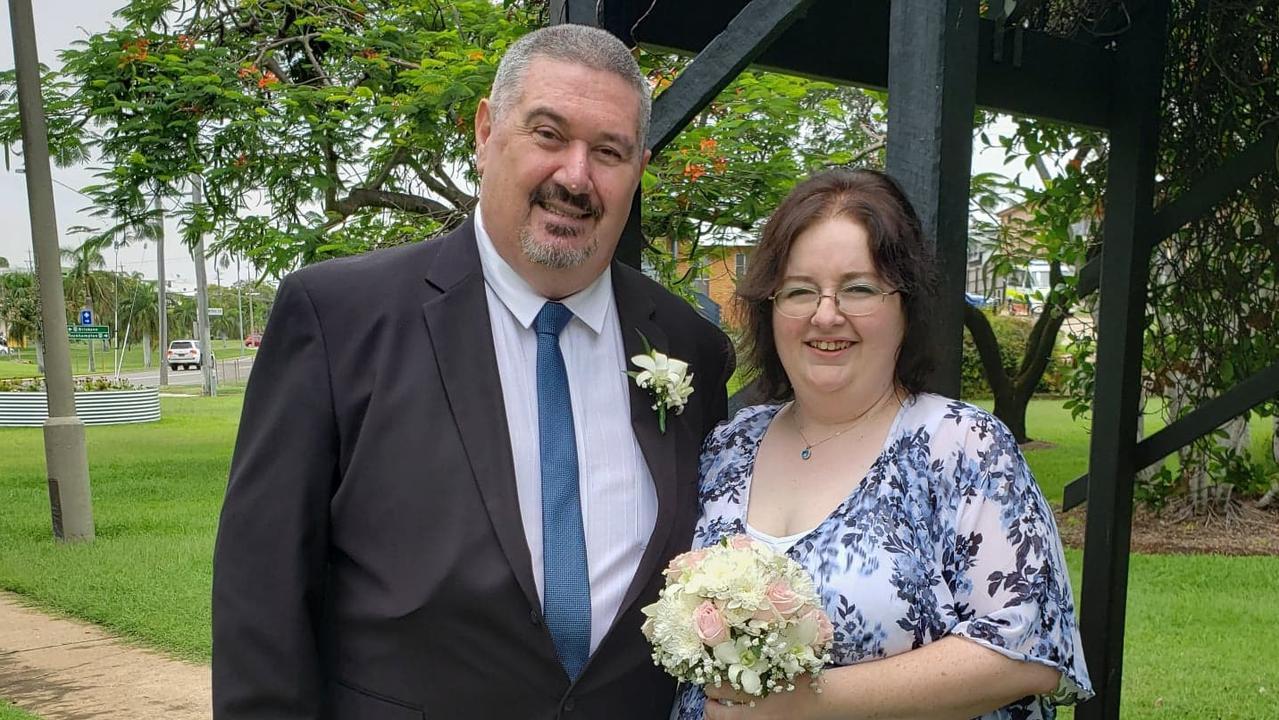 David and Natasha Mills at their wedding at Apex Park, Gladstone in January.
