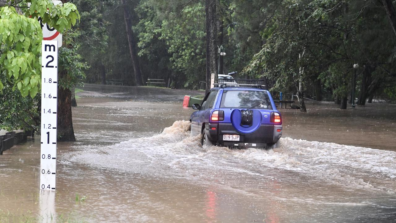 Petrie Creek in Nambour has flooded after recent heavy rain.