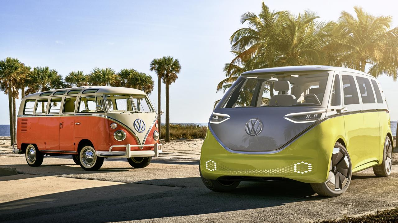 An original VW Camper van and the I.D. Buzz concept car