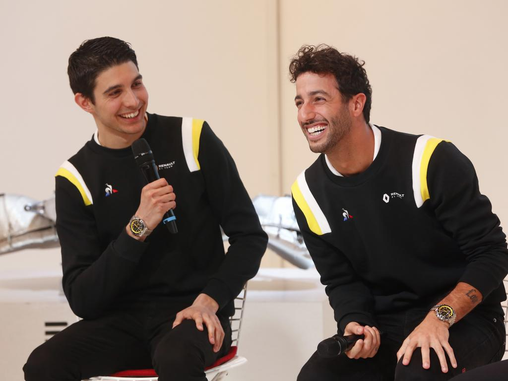 Esteban Ocon and Daniel Ricciardo. (AP Photo/Thibault Camus)