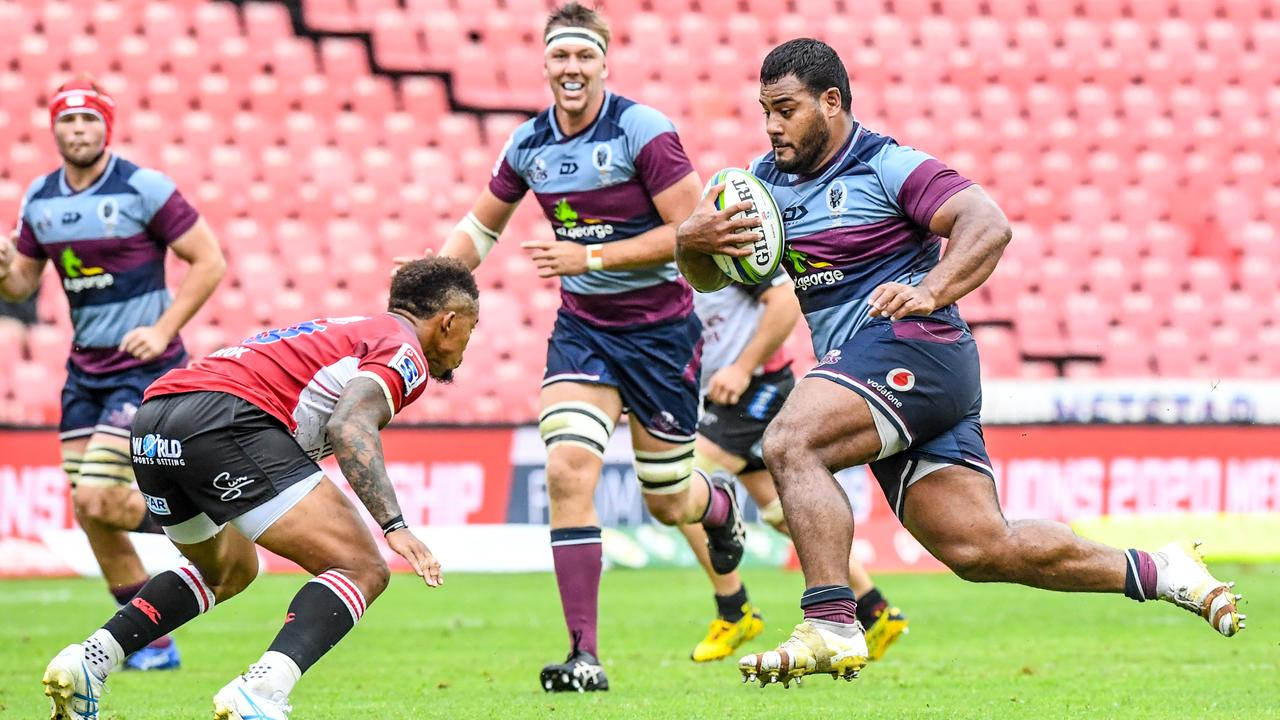 Taniela Tupou in full flight for the Reds. Picture: Sydney Seshibedi/Gallo Images/Getty Images