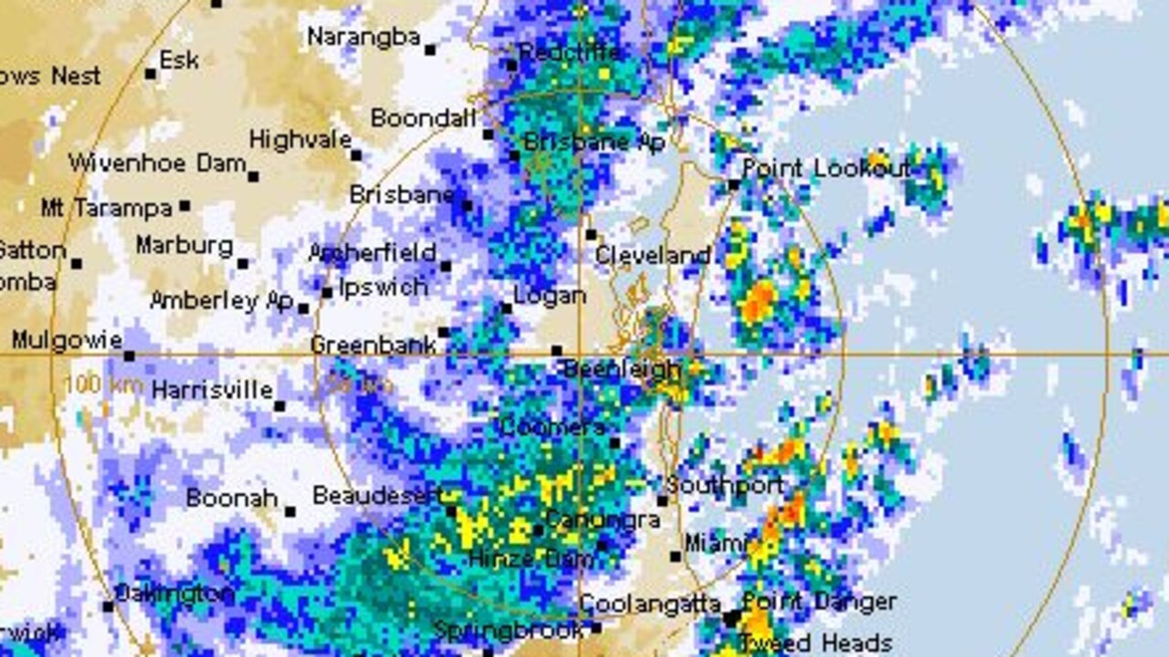 Parts of southeast Queensland copped as much as 230mm of rainfall in just a few hours. Picture: Bureau of Meteorology