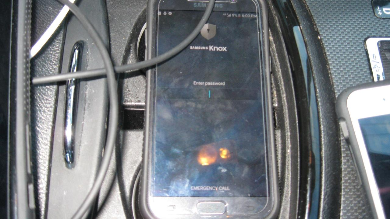 An encrypted Samsung phone Matt Hilton refused to supply a password for before it was remotely wiped. Picture: Supplied
