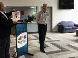 WATCH: Colin Brown accepts plaque commemorating 45 years at Mackay Regional Council